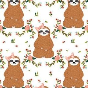 "4"" Sloths Love Pink Bows & Florals"