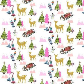 Christmas Meadow 8 snowman - Pink