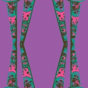 fuchsia horns with turquoise on purple