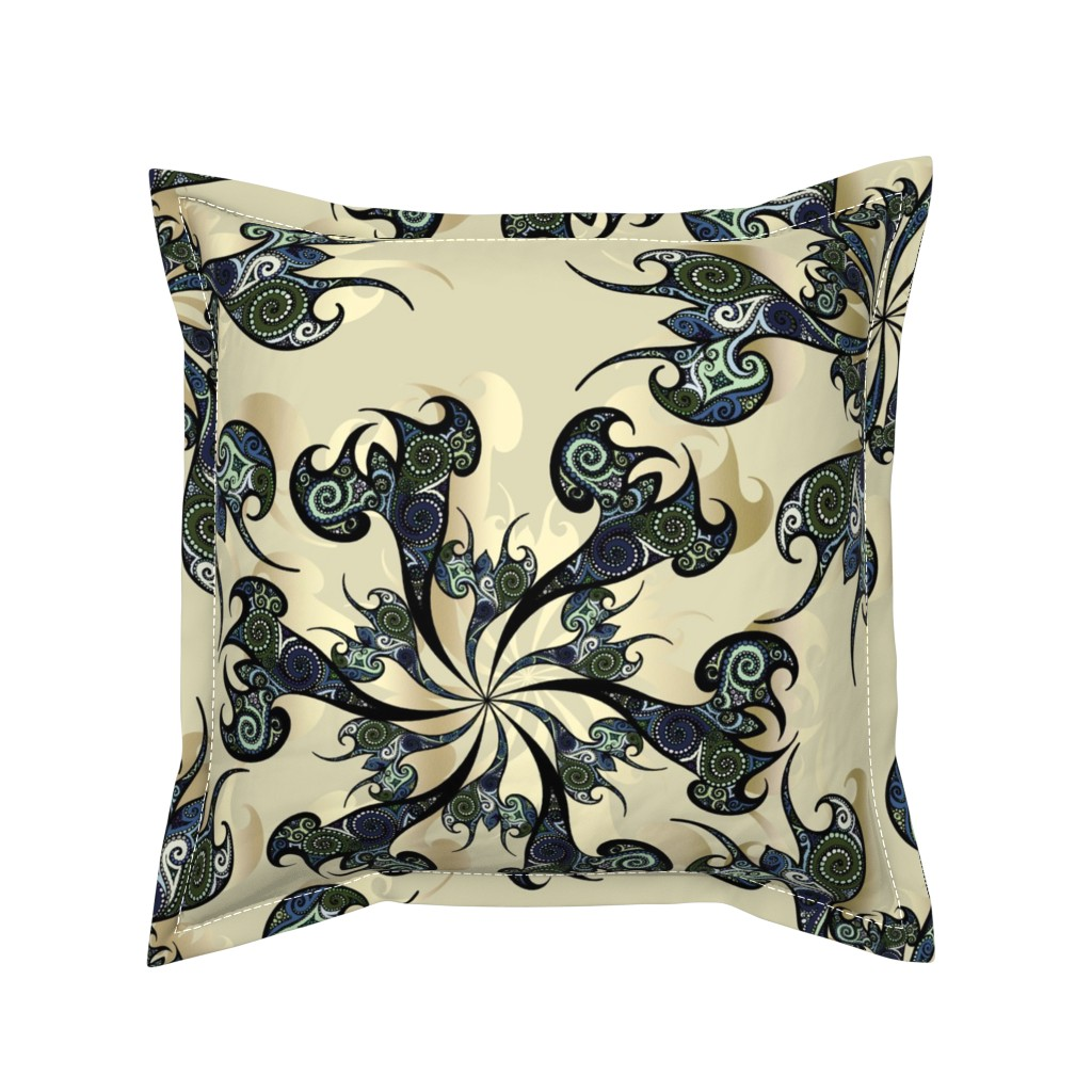 Serama Throw Pillow featuring Tattoo Flowers on white sand by pearlposition