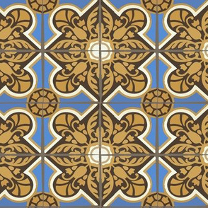 17-06M Large Geometric Home Decor Spanish Tile || Blue Brown Yellow Gold Cream Gray Grey _  Miss Chiff Designs