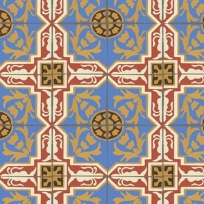 17-06L Abstract Damask Spanish Tile || Home Decor Red Blue Yellow Gold Cream Brown _ Miss Chiff Designs