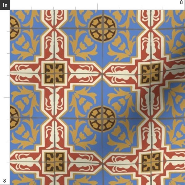 Fabric By The Yard 17 06l Abstract Damask Spanish Tile Home Decor Red Blue Yellow Gold Cream Brown Miss Chiff Designs