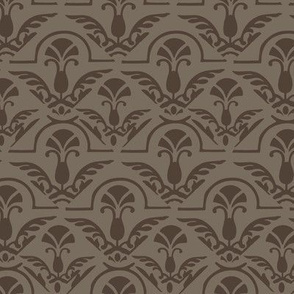 17-06J Autumn Taupe Brown Damask || Wings