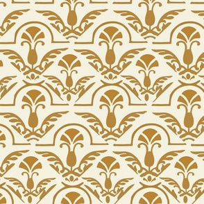 17-06H Autumn Yellow Gold Damask on Cream || Home Decor