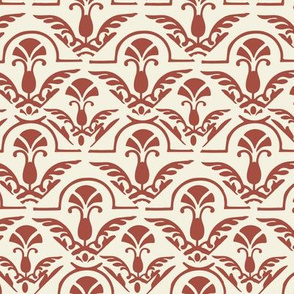 17-06G Autumn Burnt Red Orange and cream Damask Large Scale Home Decor
