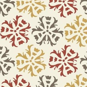 17-06E Autumn Abstract Floral Home Decor    Large Scale wall paper sienna Gold Gray Maroon Red on Cream  _ Miss Chiff Designs