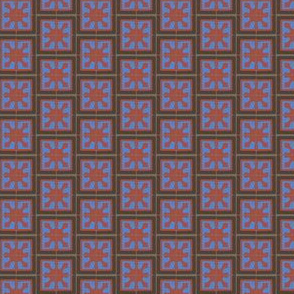 17-06C Small Abstract chocolate brown royal blue wine red gray grey small geometric square Spanish tile _  Miss Chiff Designs