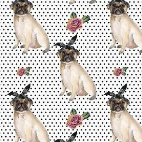 "4"" Pug Life - Black Polka Dots"