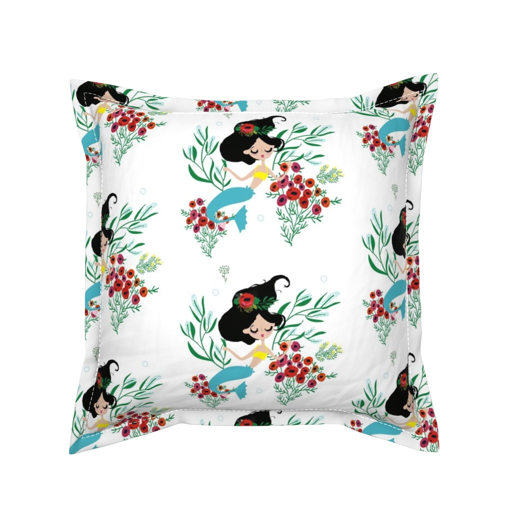 "Serama Throw Pillow featuring 8"" Seraphina The Mermaid by rebelmod"