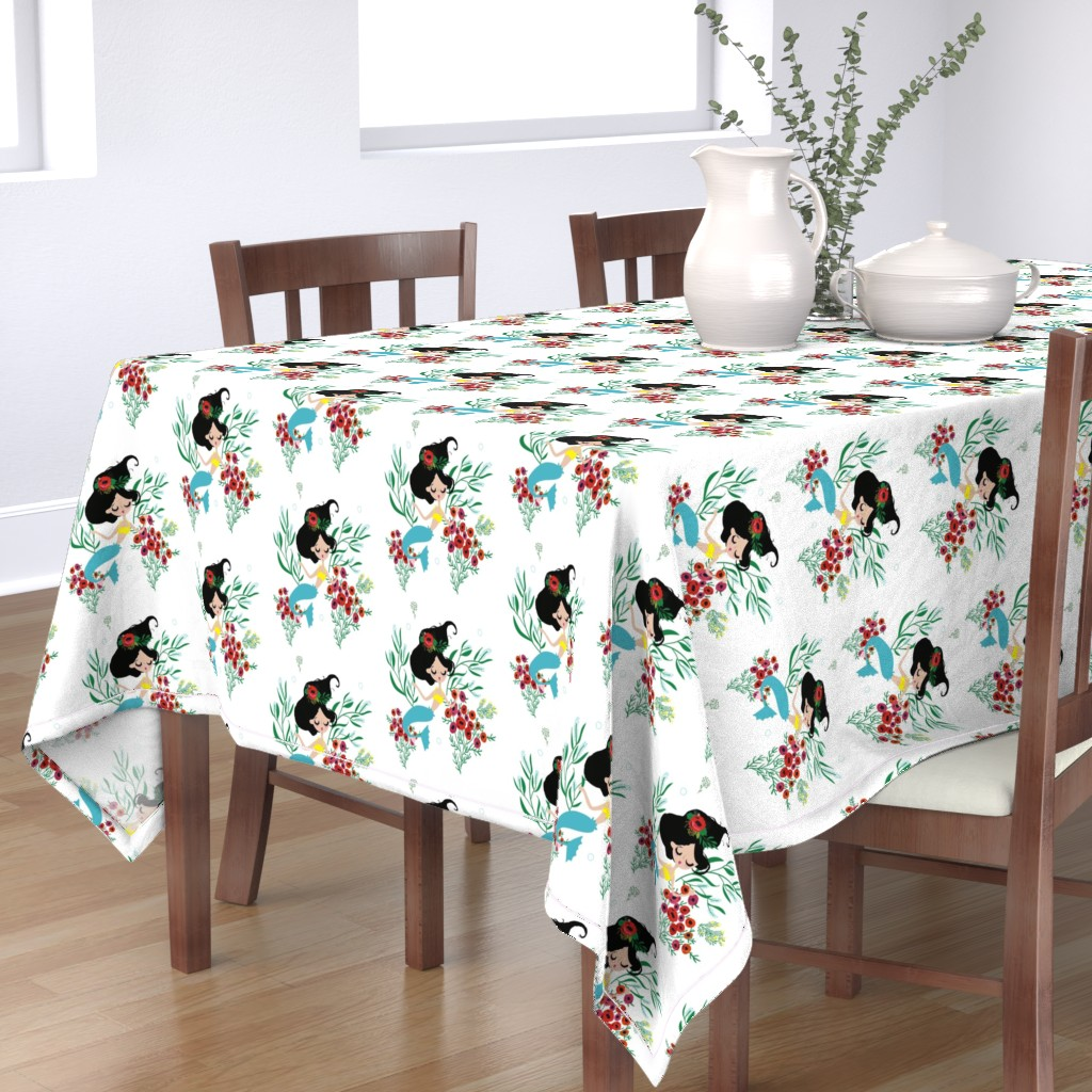 """Bantam Rectangular Tablecloth featuring 8"""" Seraphina The Mermaid by rebelmod"""