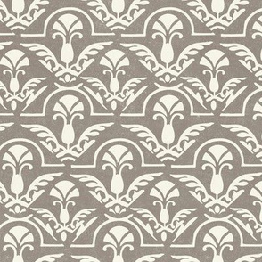 17-05K Texture Fall Damask Abstract Feather || Neutral Cream on Gray  Taupe with Heavy texture || Home decor wallpaper _ Miss Chiff Designs