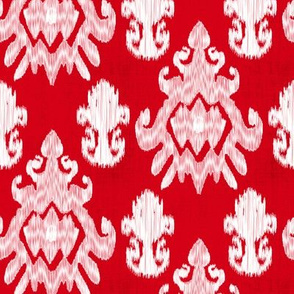 17-11H Jumbo Red White Ikat