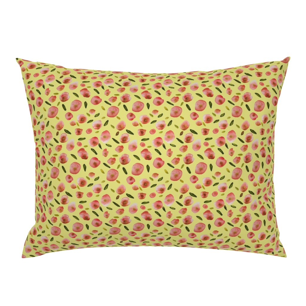 Campine Pillow Sham featuring Poppies Hand-Painted Watercolors in Rose Pink on Citron Yellow by paper_and_frill