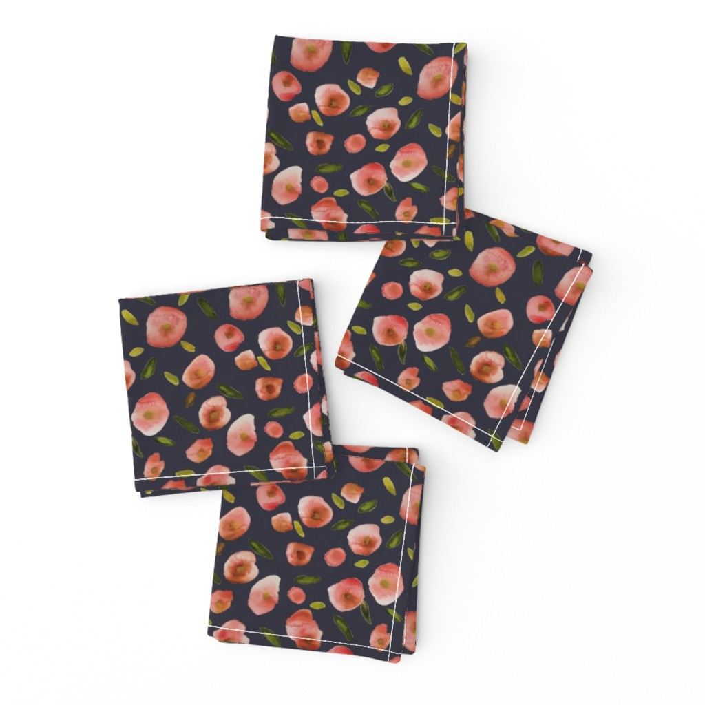Frizzle Cocktail Napkins featuring Poppies Hand-Painted Watercolors in Rose Pink on Charcoal Grey by paper_and_frill