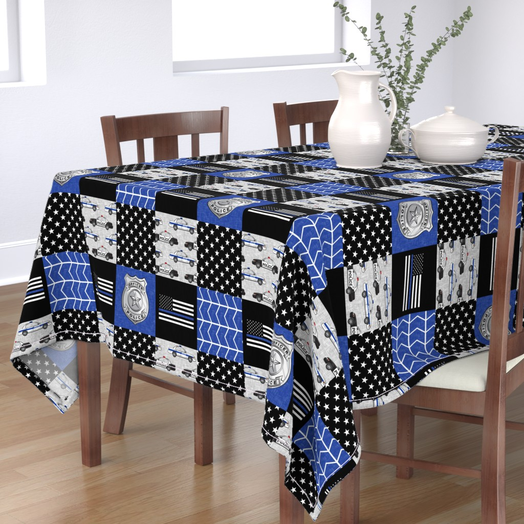 Bantam Rectangular Tablecloth featuring police patchwork fabric - thin blue line - blue chevron by littlearrowdesign