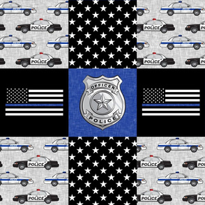 police patchwork fabric - thin blue line - blue chevron