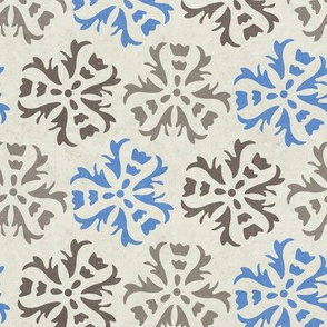 17-05B Distress Textured Abstract Floral     Tile Blue Gray grey charcoal brown on cream large scale home decor wall paper