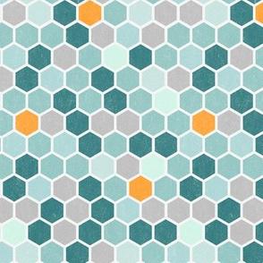 18-7AP Hexagon Orange Teal Mint Blue Honeycomb Grunge