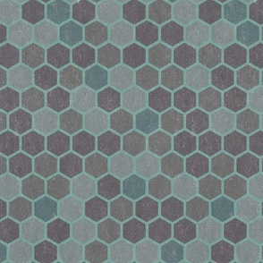 18-7M Blue Gray Green Textured Hexagon _ Miss Chiff Designs