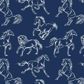 Horse Sketch // Navy
