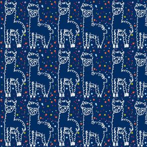 Doodle happy llamas in navy
