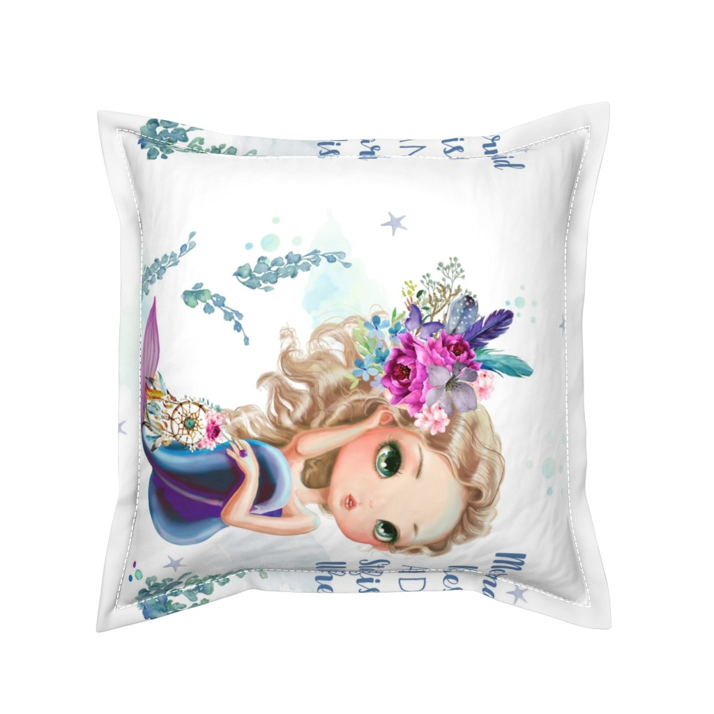 """Serama Throw Pillow featuring 18""""x21"""" Lilac Mermaid Quote / 4 to 1 yard of any 42"""" wide fabric only by shopcabin"""