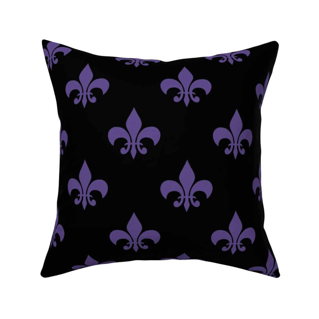 Catalan Throw Pillow featuring Three Inch Ultra Violet Purple Fleur-de-lis on Black by mtothefifthpower