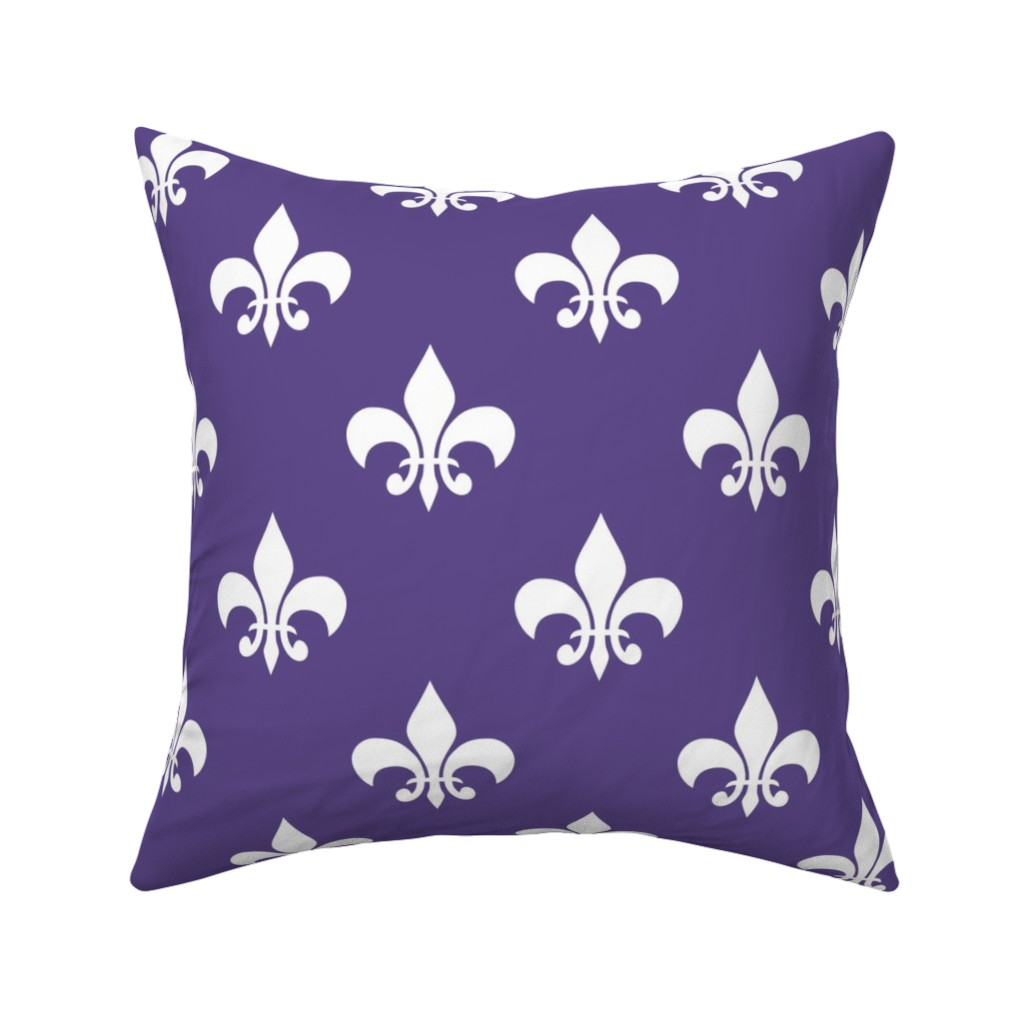 Catalan Throw Pillow featuring Three Inch White Fleur-de-lis on Ultra Violet by mtothefifthpower