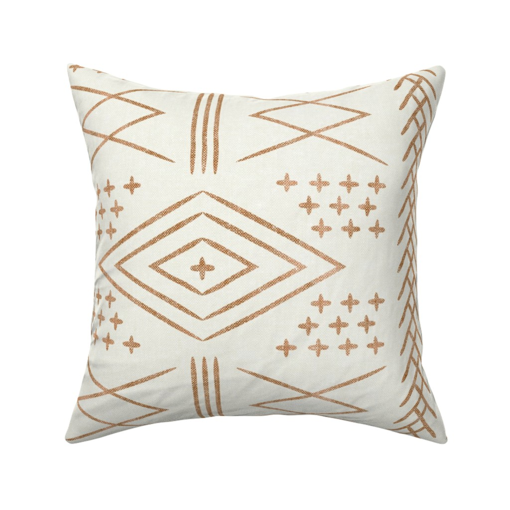 Catalan Throw Pillow featuring vintage moroccan (large scale) - bone and  dark maple (90) by littlearrowdesign