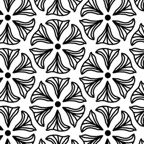 Jumbo Illustrated Black and White Abstract Floral Coloring  Book