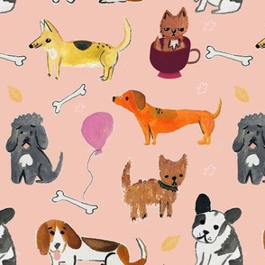 Hand painted dog partys pattern