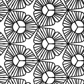 Jumbo Large Scale Abstract Black and White Trillium Flower Coloring Book _ Miss Chiff Designs