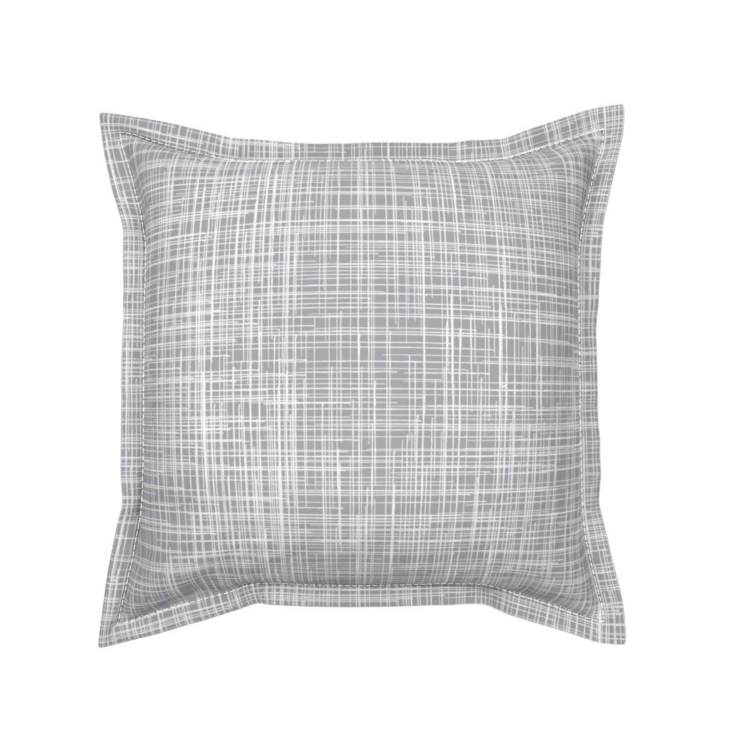 Serama Throw Pillow featuring 15-11AC Linen Texture Gray Grey White  by misschiffdesigns