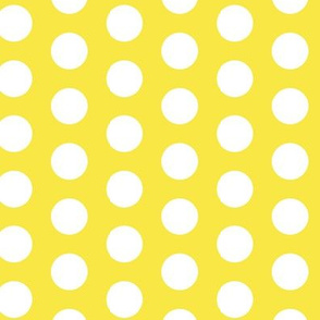 17-07ALemon Sun Yellow White Large Polka Dot || Spots drops Miss Chiff Designs