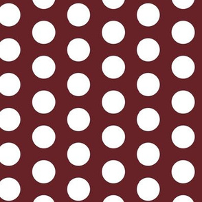 White Large Polka Dot on Wine Red Maroon || Spots Drops  Home Decor