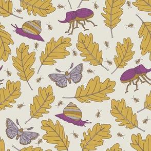 Oak Leaves and Bugs - Purple