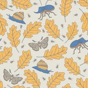 Oak Leaves and Bugs - Blue