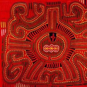 Kuna Indian Red San Blas Indian Design