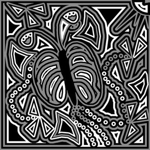Black butterfly stained glass