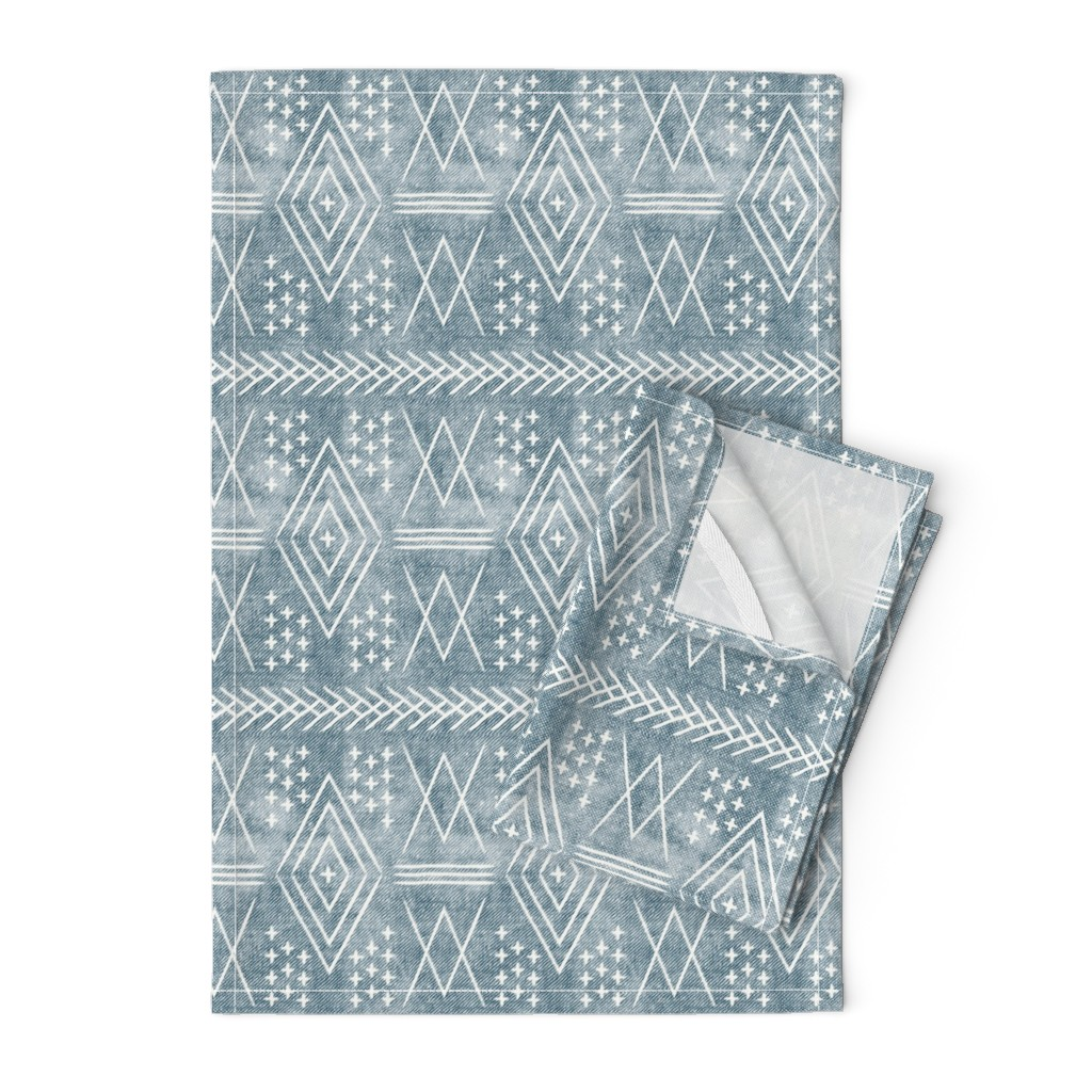 Orpington Tea Towels featuring (med scale) vintage moroccan - dusty blue by littlearrowdesign