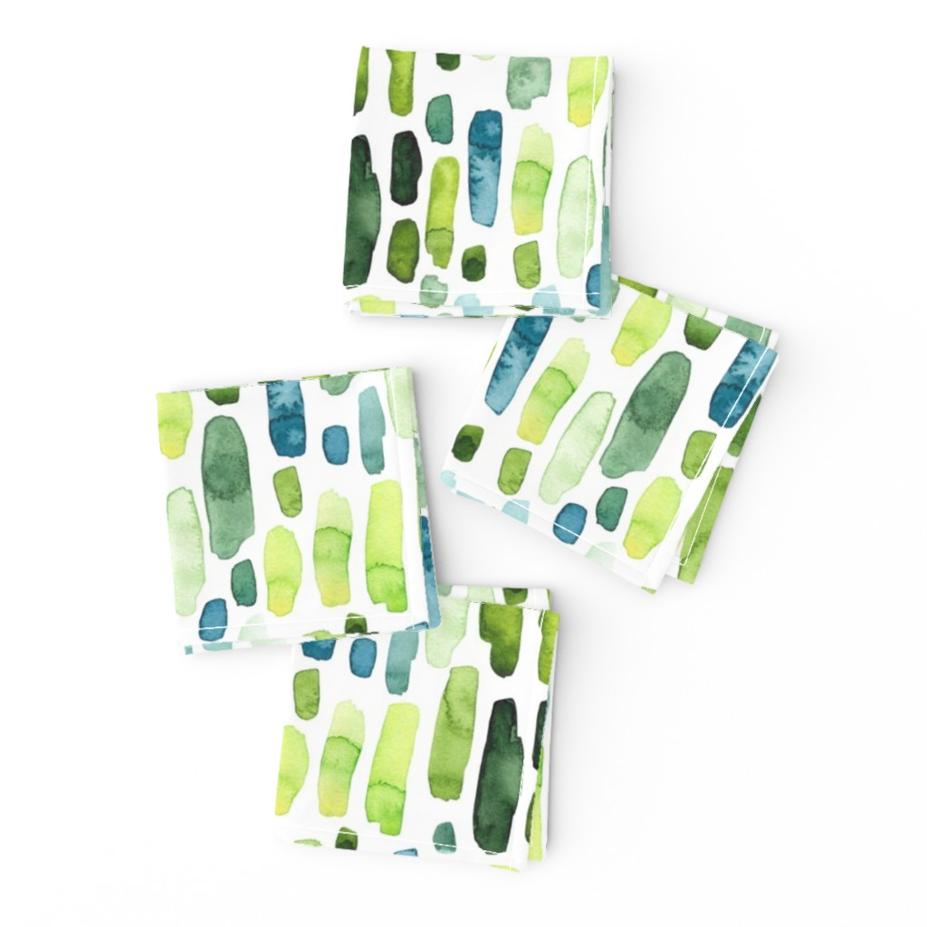 Frizzle Cocktail Napkins featuring Green Watercolor Stripes by hipkiddesigns