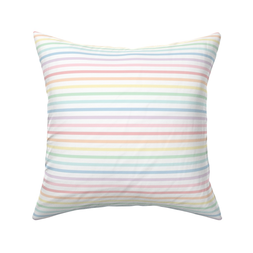 Catalan Throw Pillow featuring  pastel rainbow stripes 1 horizontal XL - lighter by misstiina