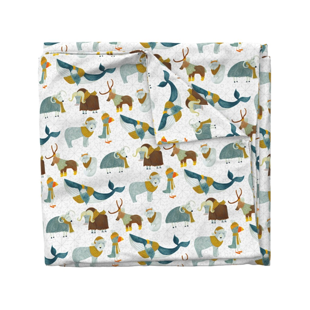 Wyandotte Duvet Cover featuring Pattern #72 - Arctic Animals with woolly scarves by irenesilvino