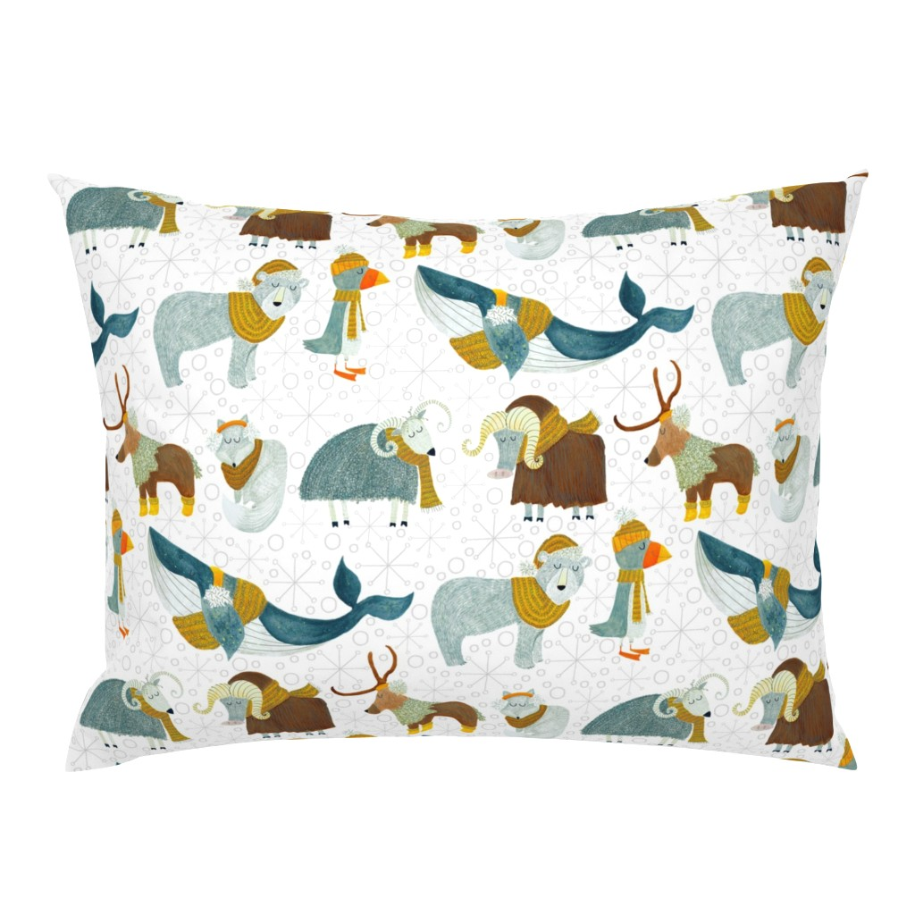 Campine Pillow Sham featuring Pattern #72 - Arctic Animals with woolly scarves by irenesilvino