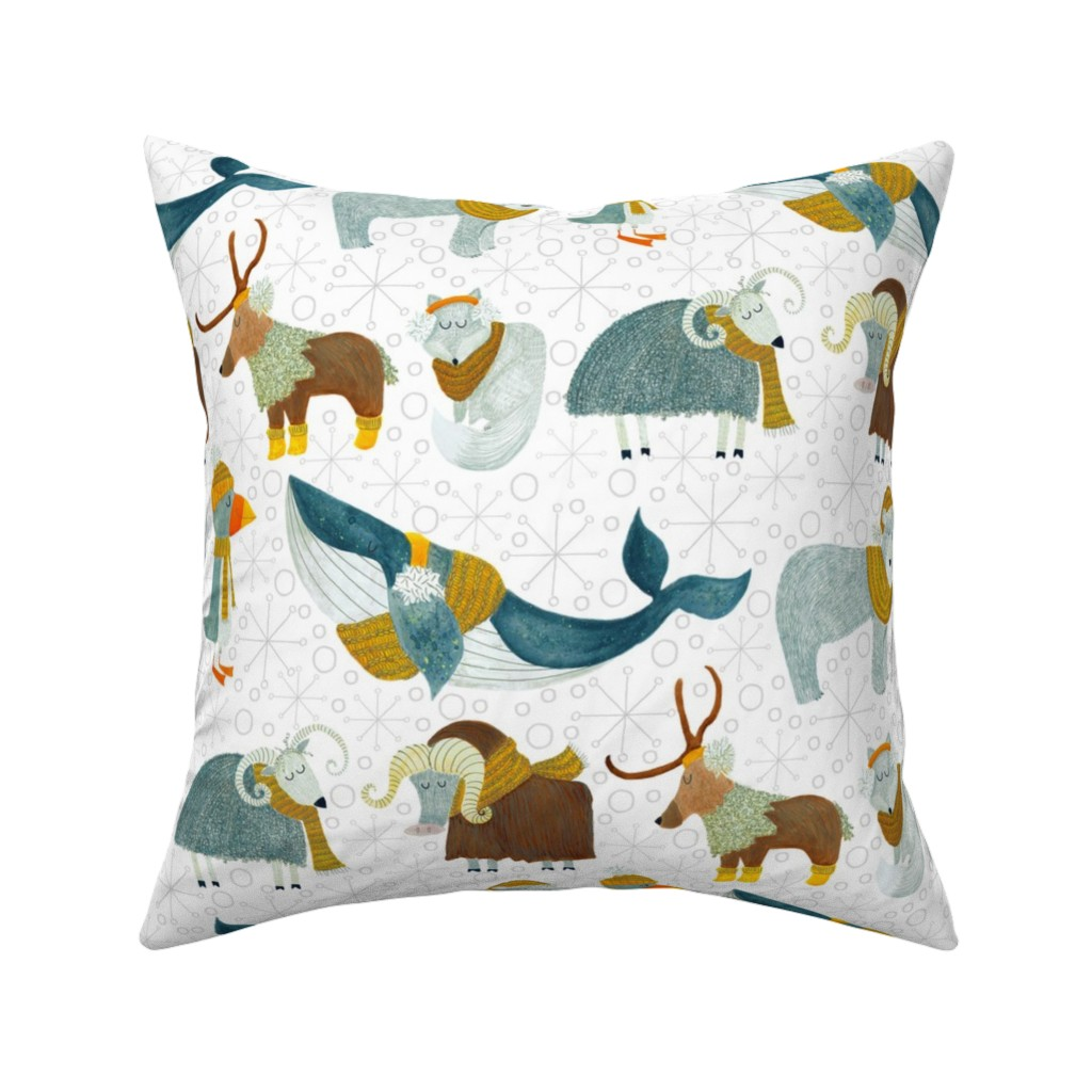 Catalan Throw Pillow featuring Pattern #72 - Arctic Animals with woolly scarves by irenesilvino