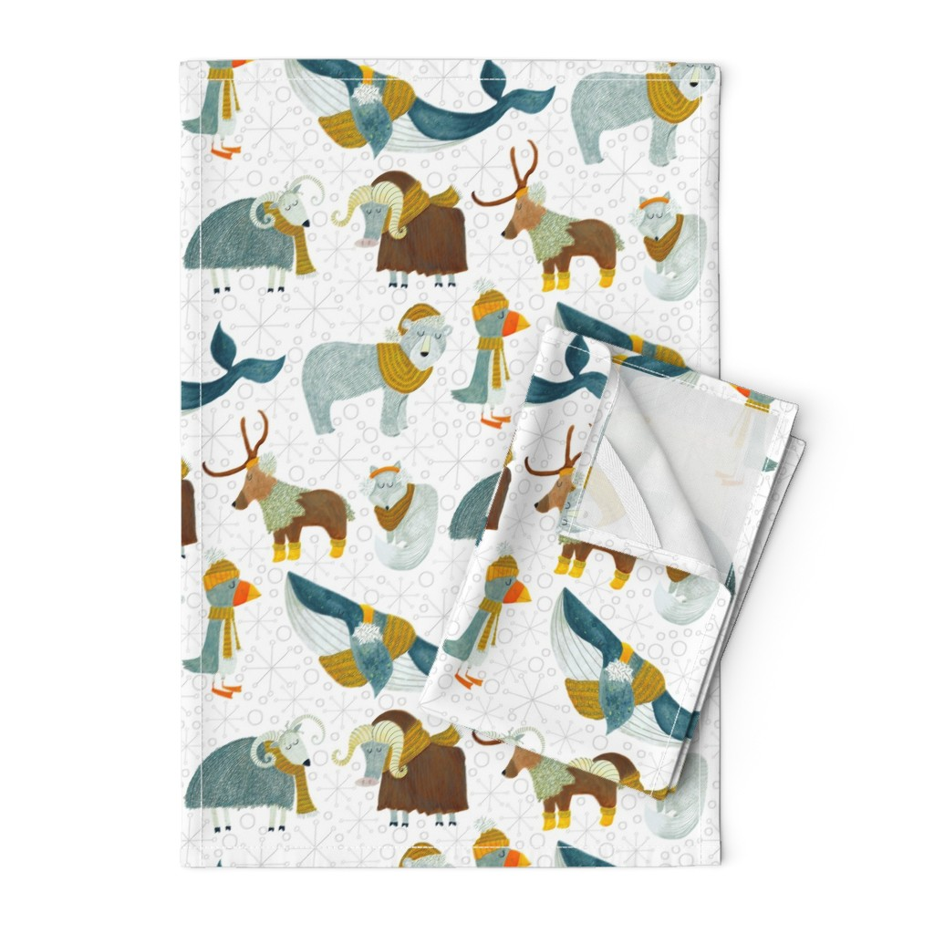 Orpington Tea Towels featuring Pattern #72 - Arctic Animals with woolly scarves by irenesilvino