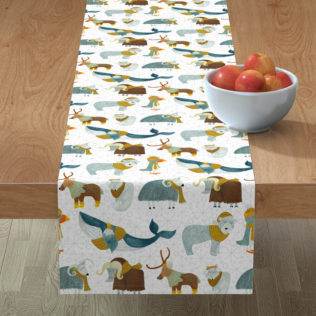 Minorca Table Runner featuring Pattern #72 - Arctic Animals with woolly scarves by irenesilvino