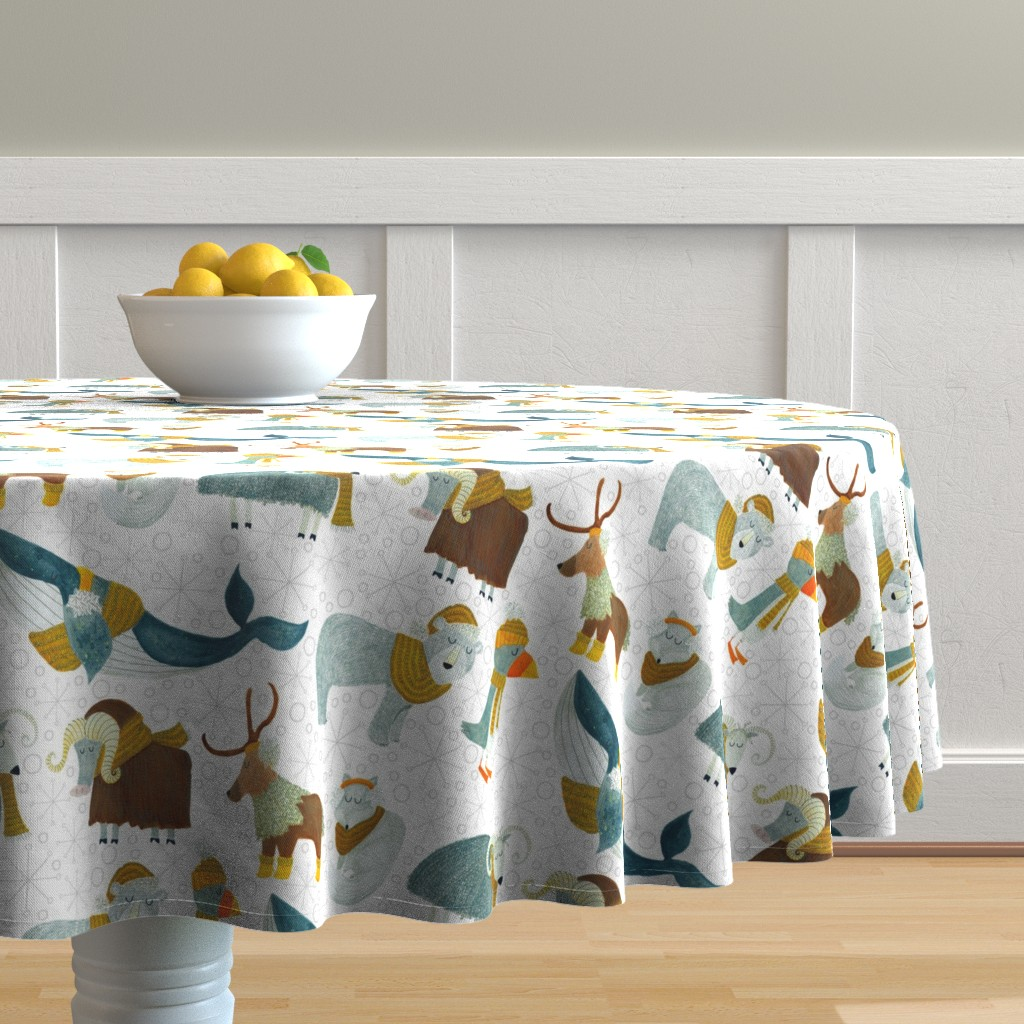 Malay Round Tablecloth featuring Pattern #72 - Arctic Animals with woolly scarves by irenesilvino