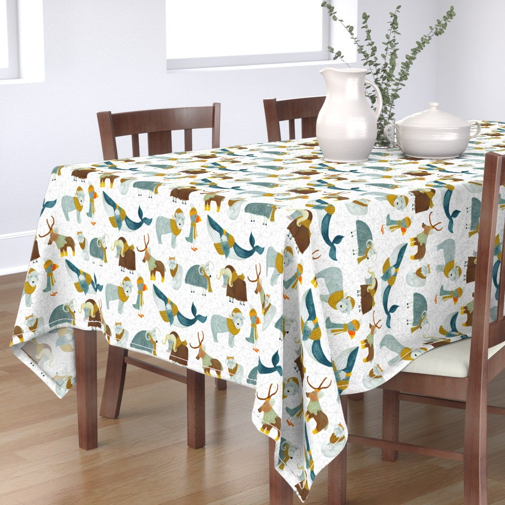 Bantam Rectangular Tablecloth featuring Pattern #72 - Arctic Animals with woolly scarves by irenesilvino